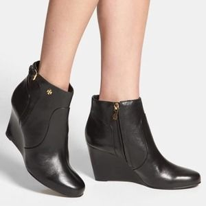 TORY BURCH Milan Black Leather Wedge Bootie 8.5